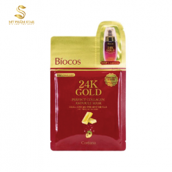Mặt nạ vàng Biocos 24k Gold Perfect Collagen Ampoule & Mask